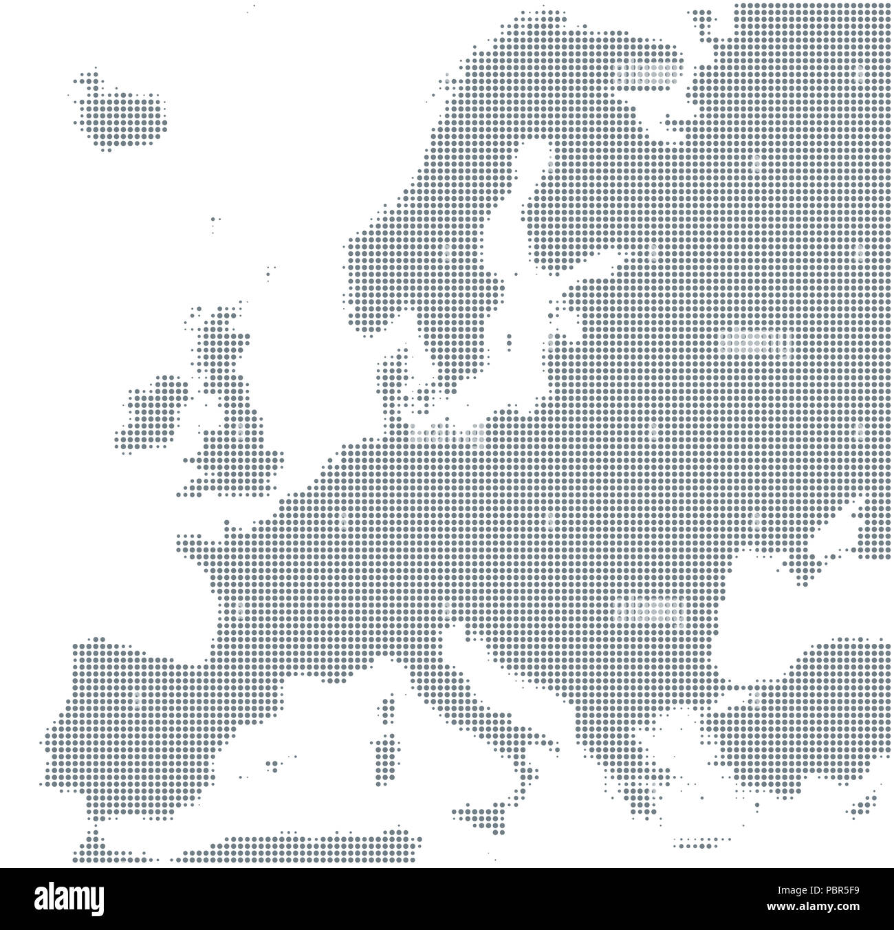 Silhouette of Europe. Gray halftone dots, varying in size and spacing. Map of Europe. Dotted outline and surface under Robinson projection. - Stock Image