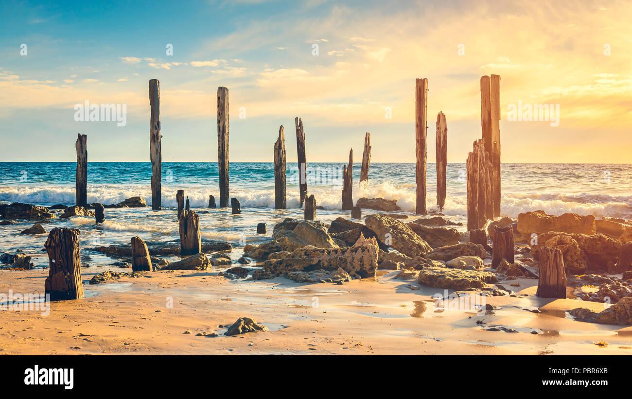 Port Willunga Beach view on a day,  South Australia - Stock Image