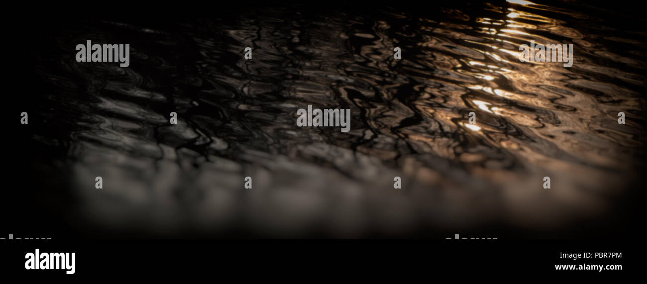 Abstract blurred background. Waves and reflection on the surface of the water in the river. Web banner. - Stock Image