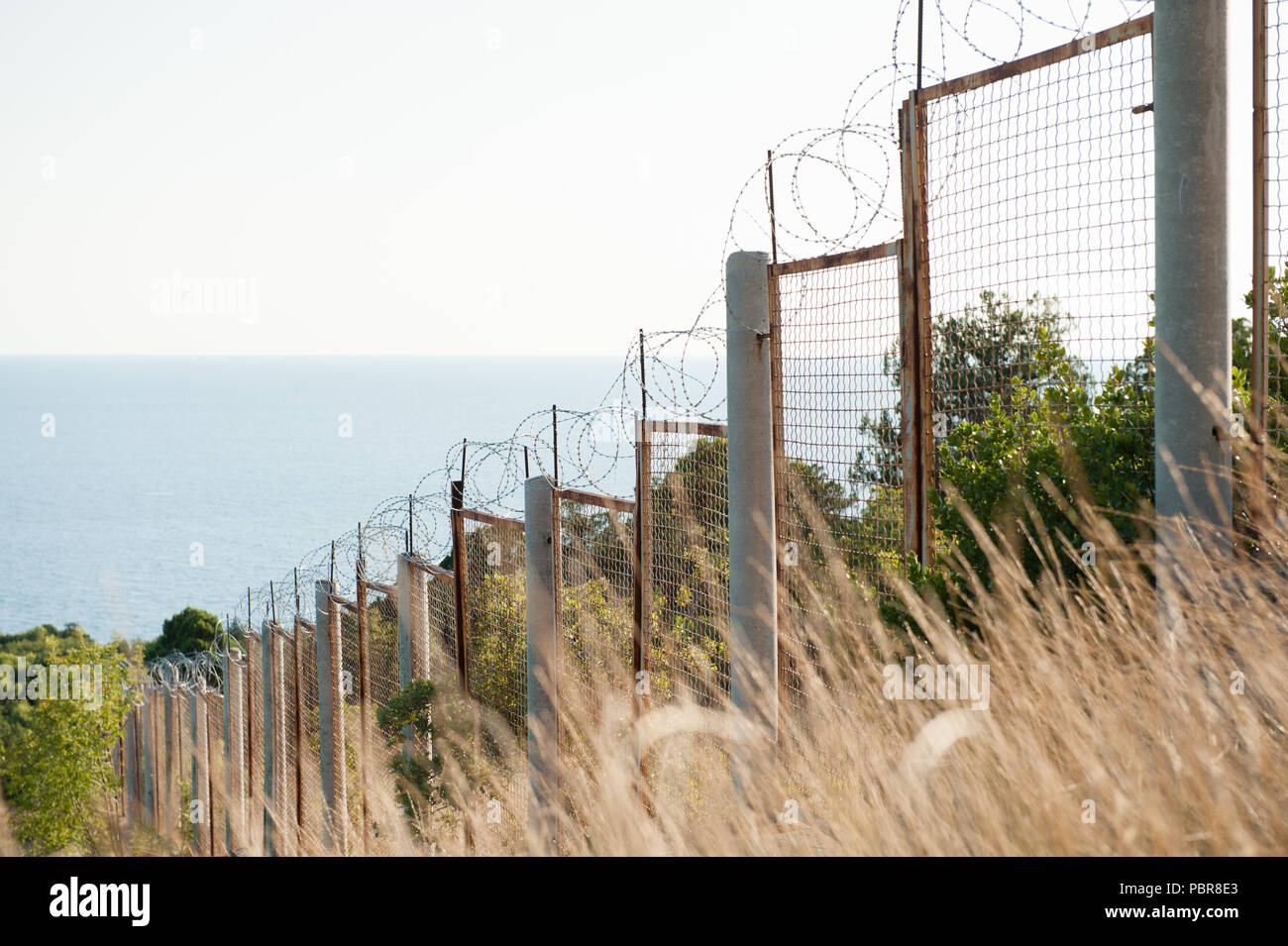 state border razor barbed wire and fence along sea shore and forest danger zone Stock Photo