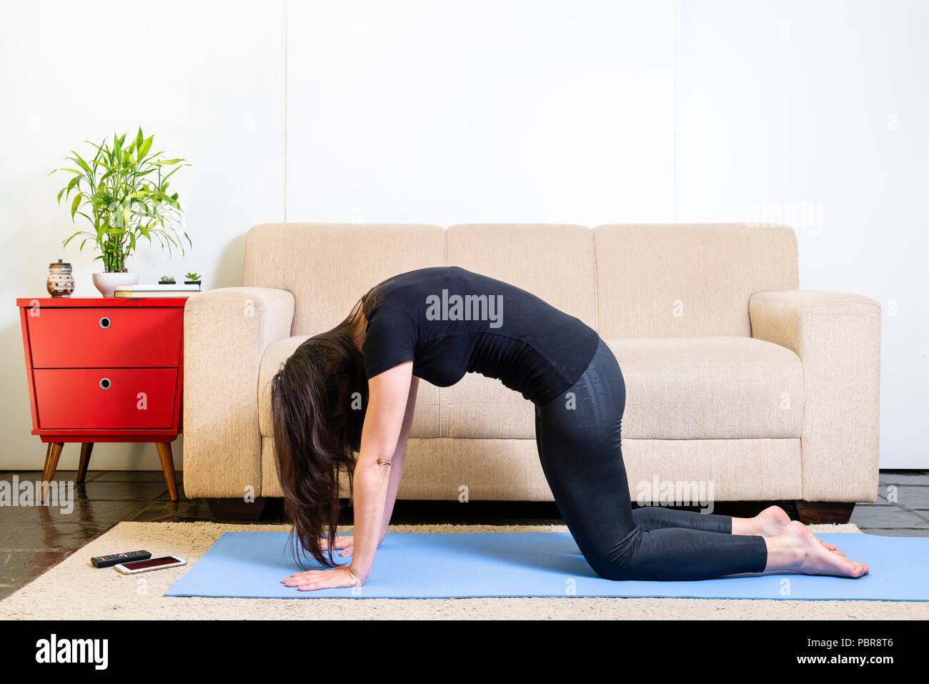 Beautiful caucasian brunette woman in black clothes on blue yogamat doing cat pose - Stock Image