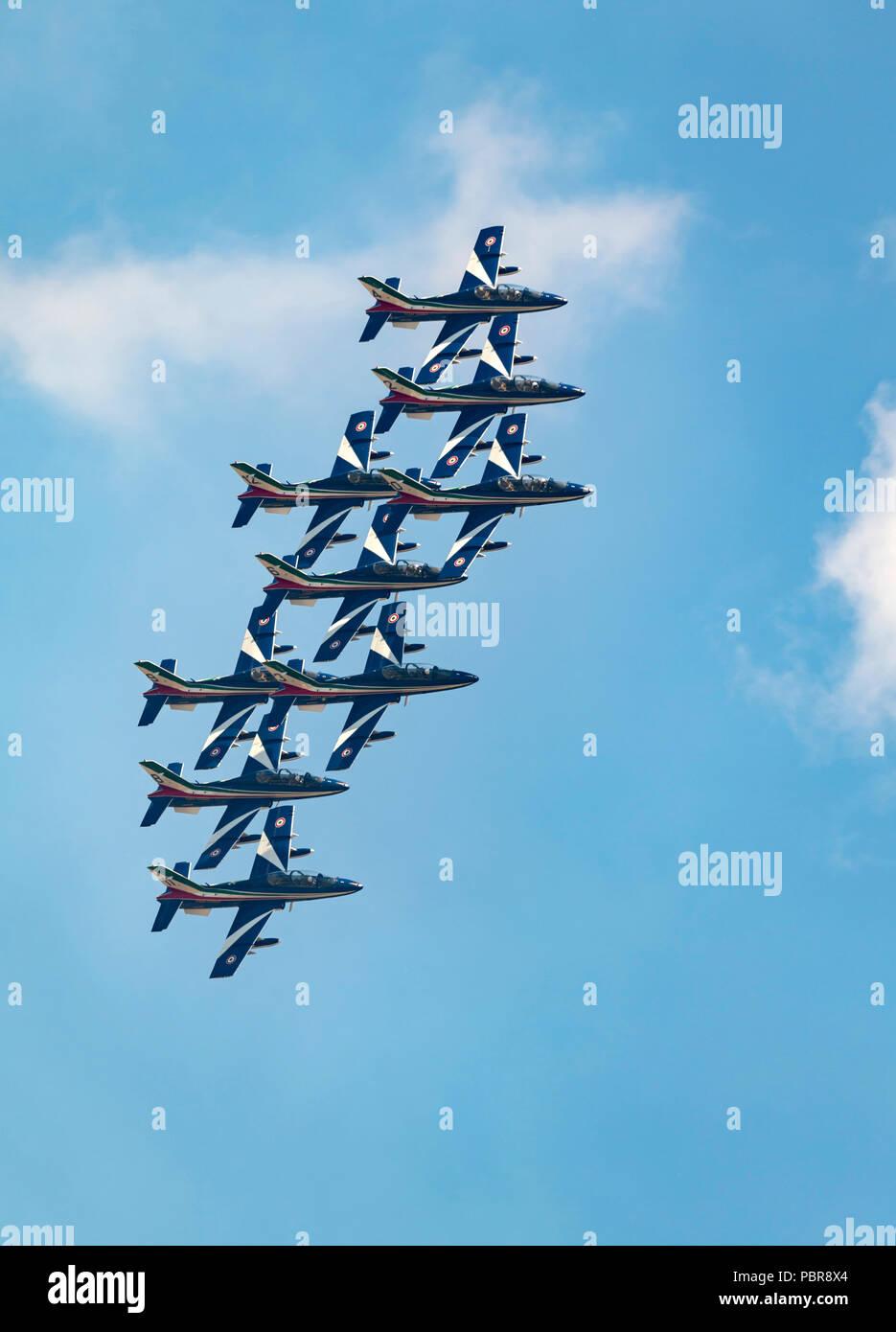 Frecce Tricolori, Italian Air Force, Aerobatic Team using AermacchiAT-339A aircraft Stock Photo
