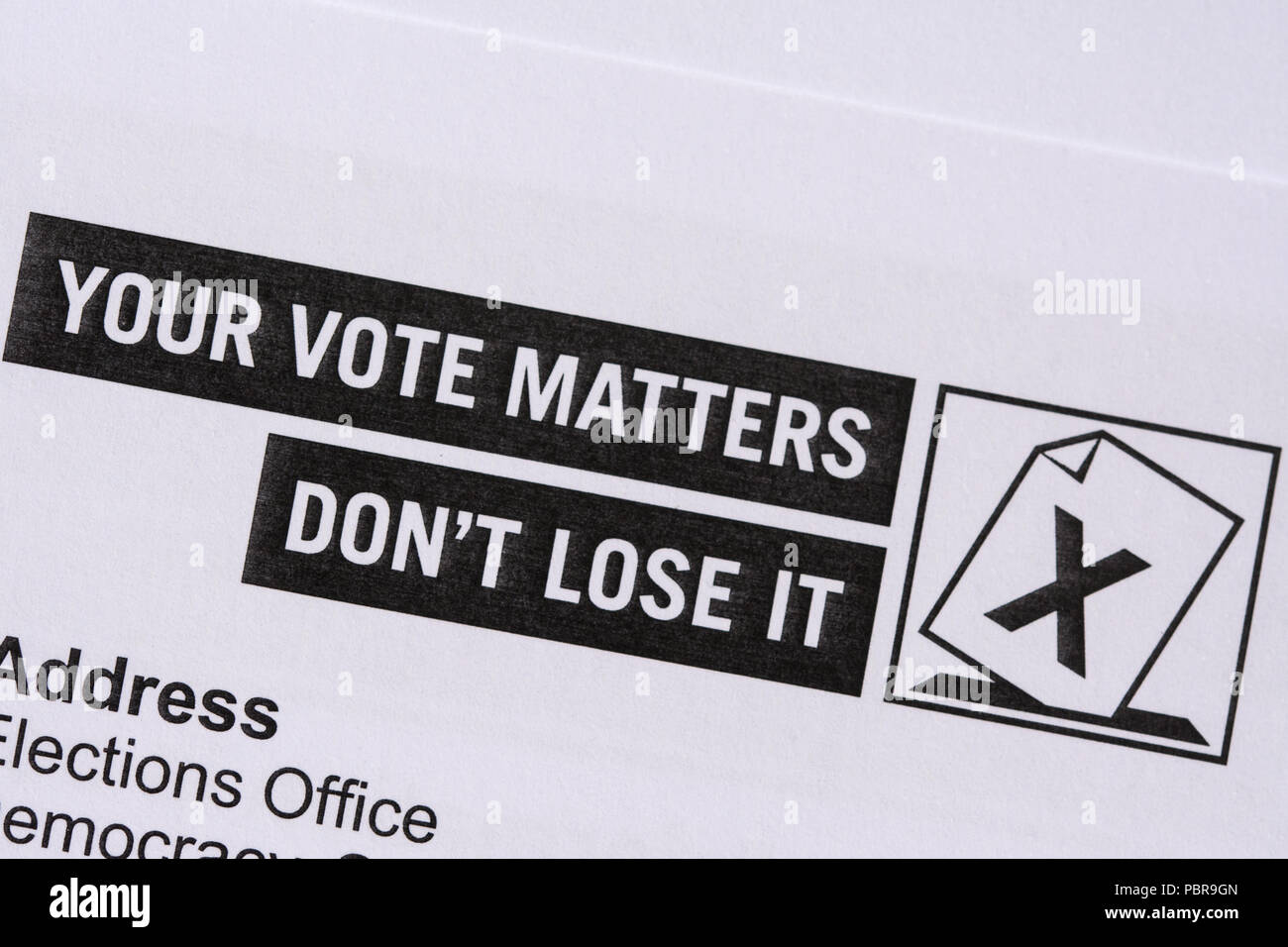 Household enquiry letter heading, Your Vote Matters, Don't Lose It, confirming people registered to vote in elections - Stock Image