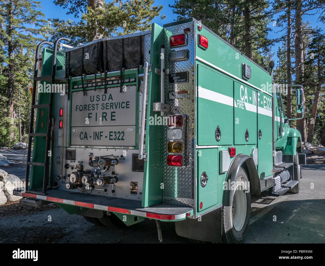 USDA Forest Service fire truck, Lake George, Mammoth Lakes, California. - Stock Image