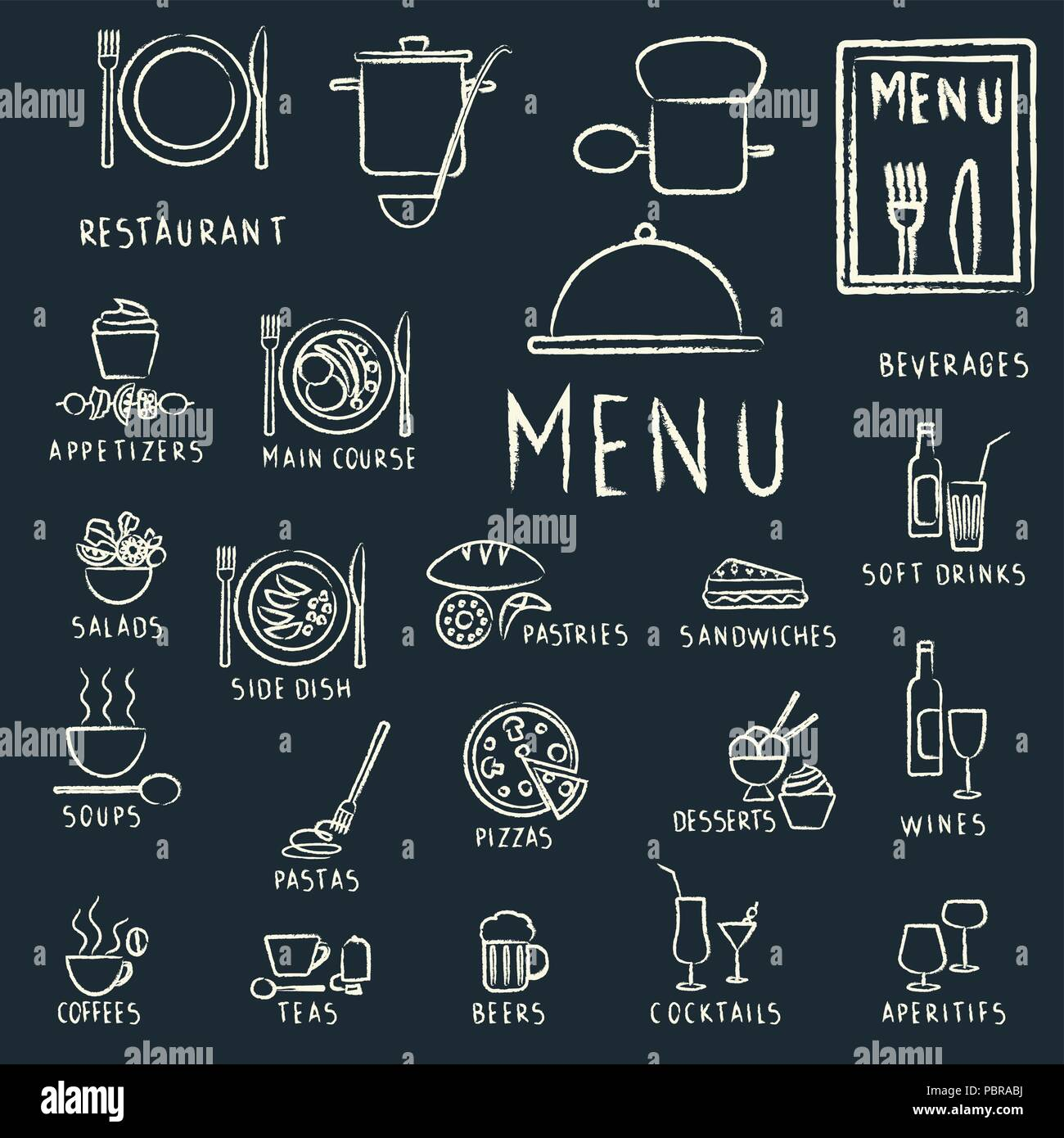 restaurant menu design elements with chalk drawn food and drink