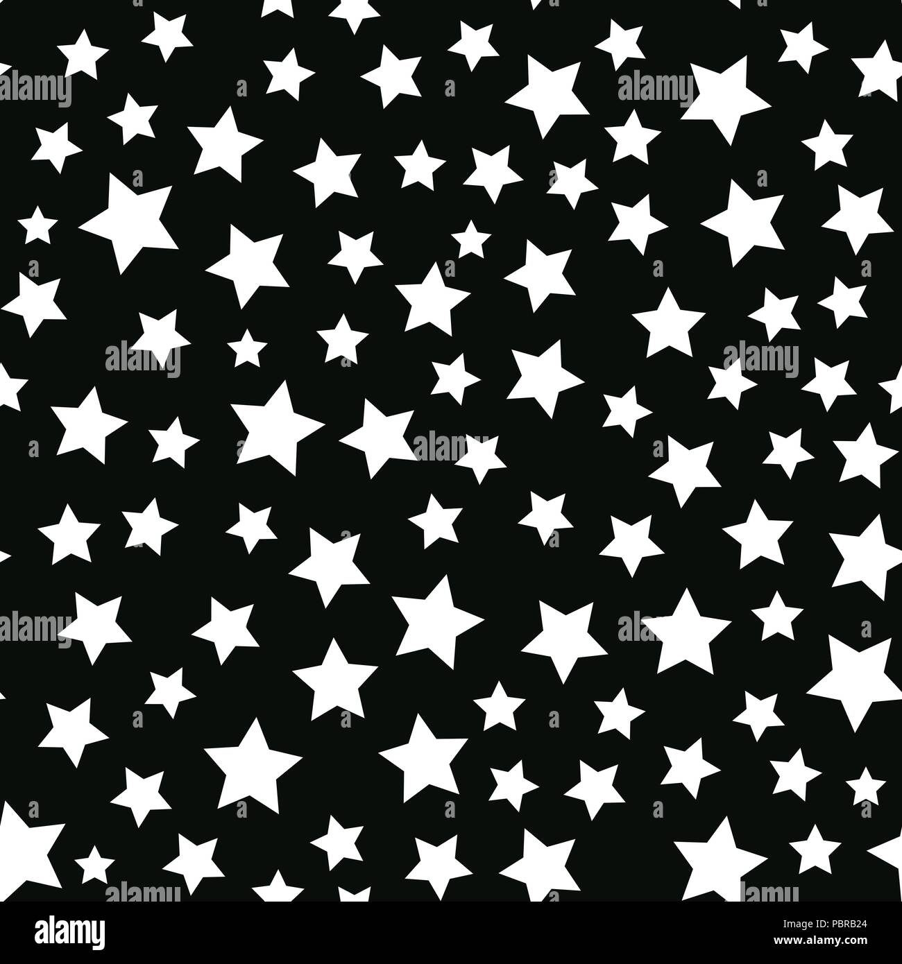 Vector White Star Seamless Pattern Isolated On Black Background