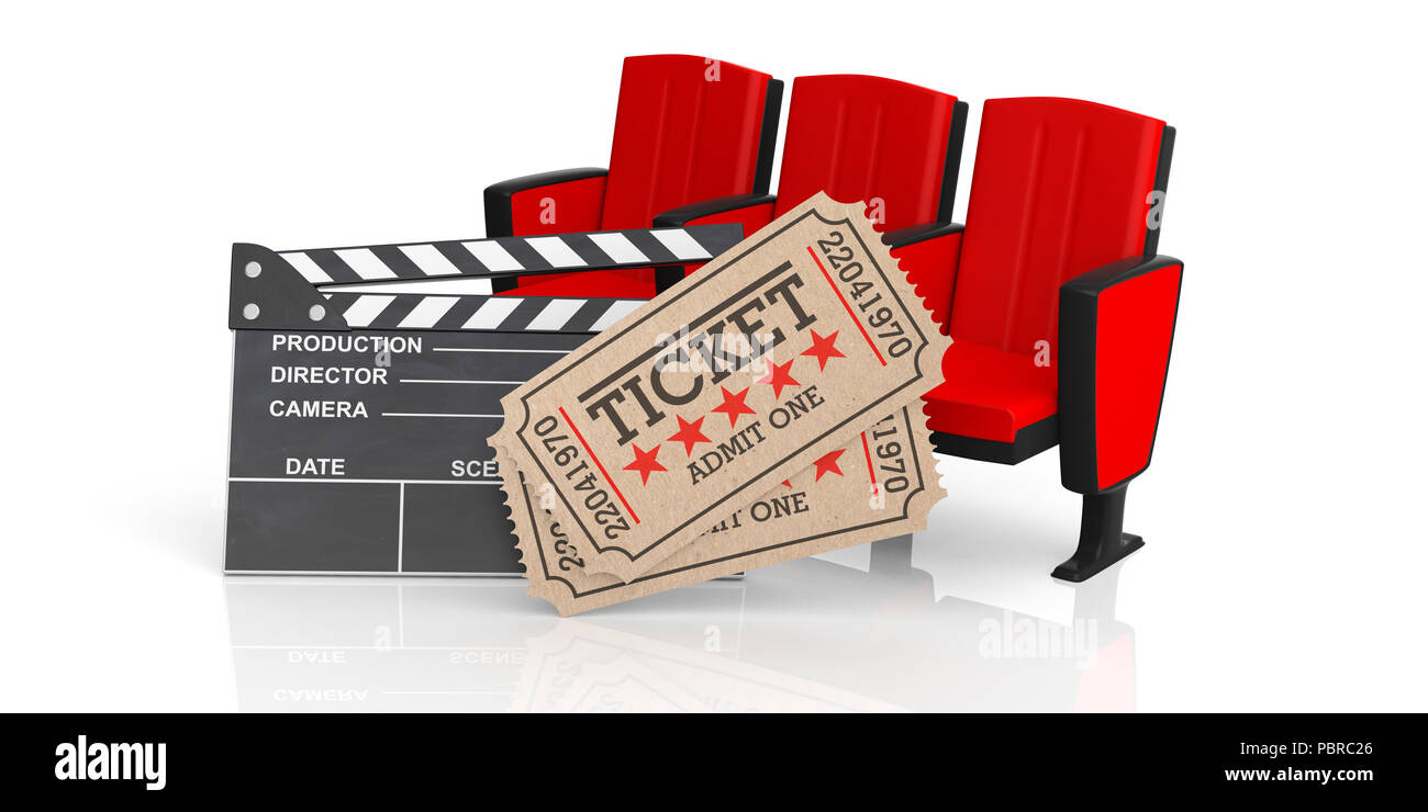 Picture of: Movie Theater Concept Cinema Old Type Tickets Beige Movie Clapper And Red Movie Theater Seats On A White Background 3d Illustration Stock Photo Alamy