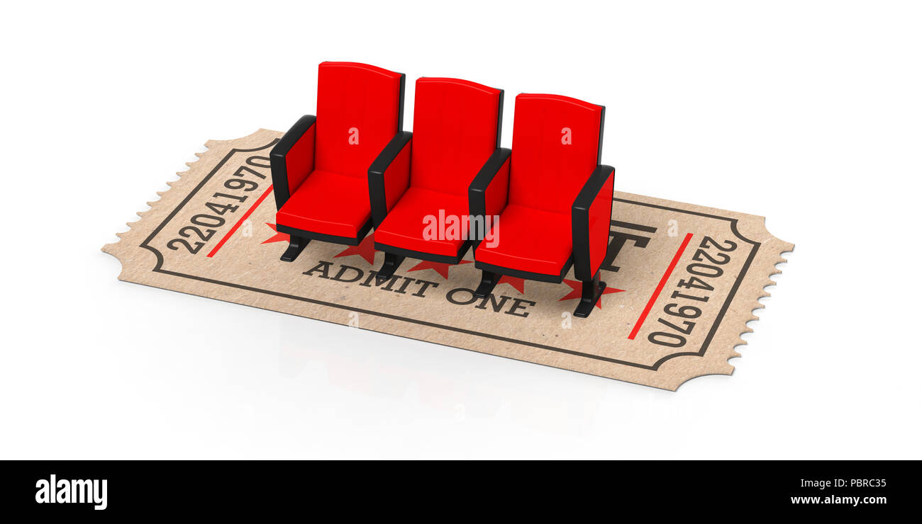Picture of: Movie Theater Concept Cinema Old Type Ticket Beige Under Red Movie Theater Seats On A White Background Cutout Isolated 3d Illustration Stock Photo Alamy