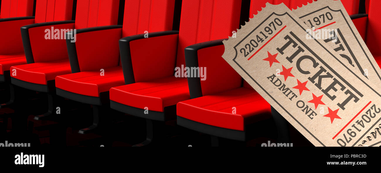 Picture of: Movie Theater Concept Cinema Old Type Tickets Beige And Red Movie Theater Seats Background Banner 3d Illustration Stock Photo Alamy