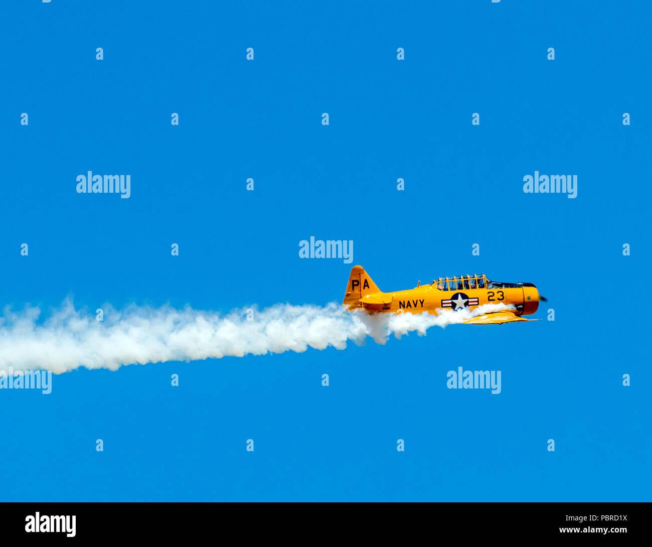 North American Aviation T-6 Texan; SNJ-5; Harriett Alexander Field; air show; Salida; Colorado; USA Stock Photo