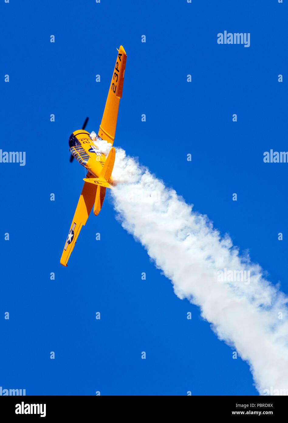 North American Aviation T-6 Texan; SNJ-5; Harriett Alexander Field; air show; Salida; Colorado; USA - Stock Image