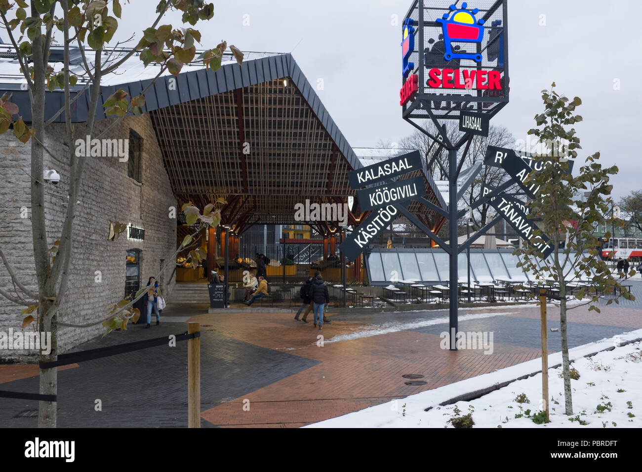 24de88f7a9f New shopping centre Telliskivi district of Tallinn in the snow. This area is  the former