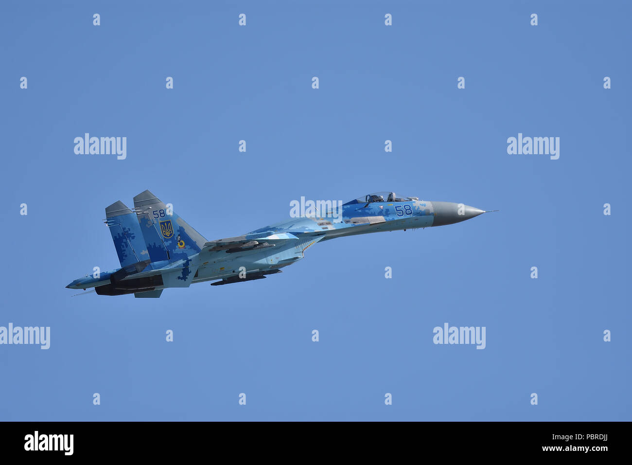 Ukrainian Sukhoi SU-27 Flanker RIAT Fairford 2018 - Stock Image