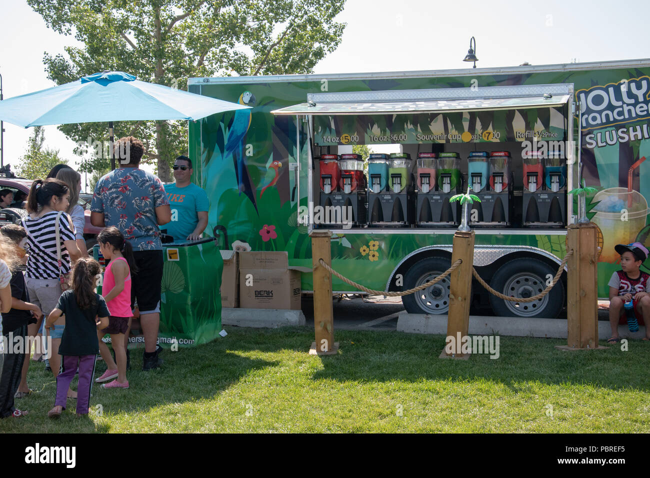 Jolly Rancher Slush at the Chestermere Water Festival, Chestermere, Alberta, Canada - Stock Image