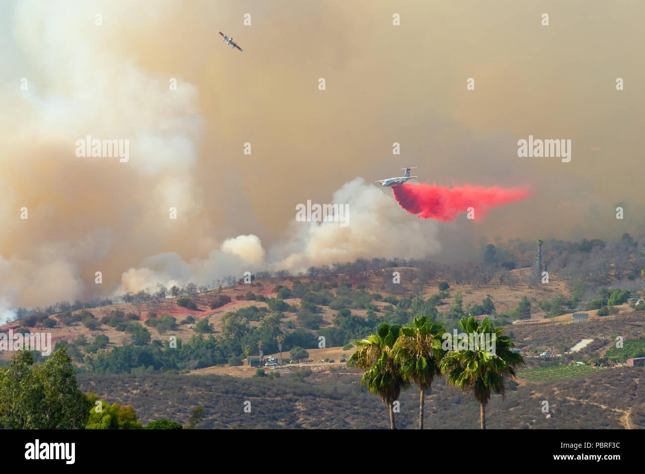 Fallbrook, California, USA – July 29 2018: CalFire battles wildfire near Fallbrook, California in San Diego County. - Stock Image