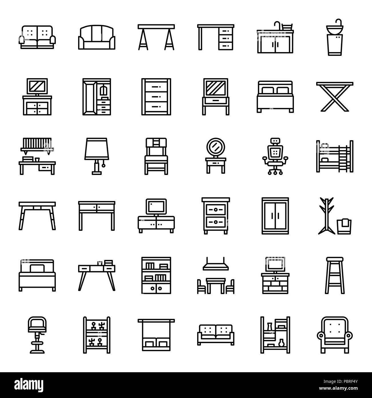 furniture outline icon, household, isolated on white background - Stock Image