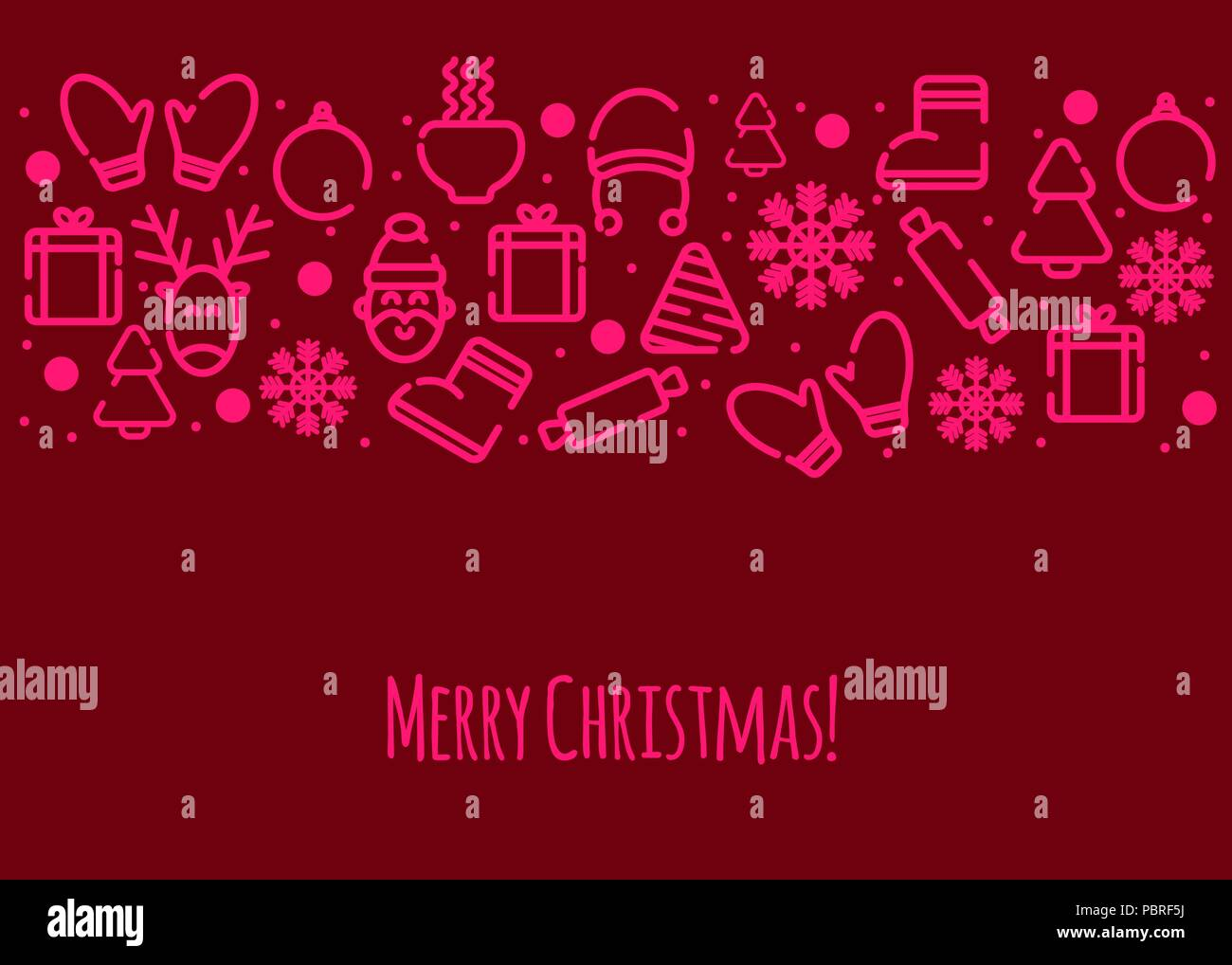 Christmas Card Merry Christmas Greetings Banner With Winter Icons