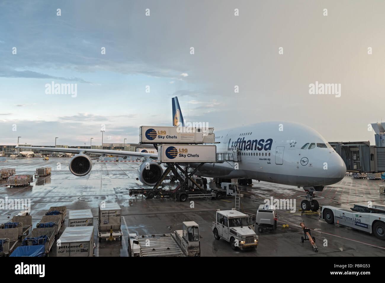 Lufthansa airbus A380 loading at Frankfurt airport. - Stock Image