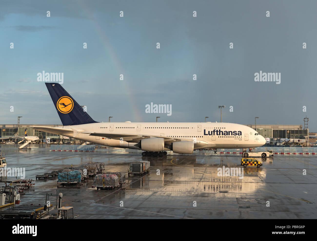lufthansa airbus a380 in frankfurt airport. - Stock Image