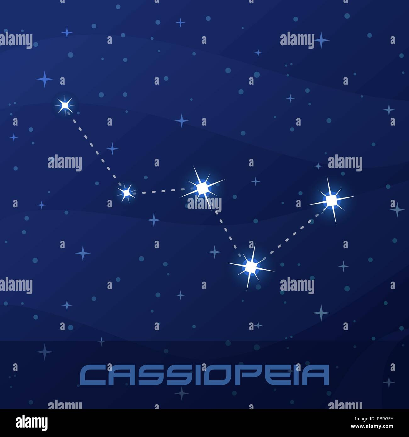 Constellation Cassiopeia, Queen, night star sky - Stock Image