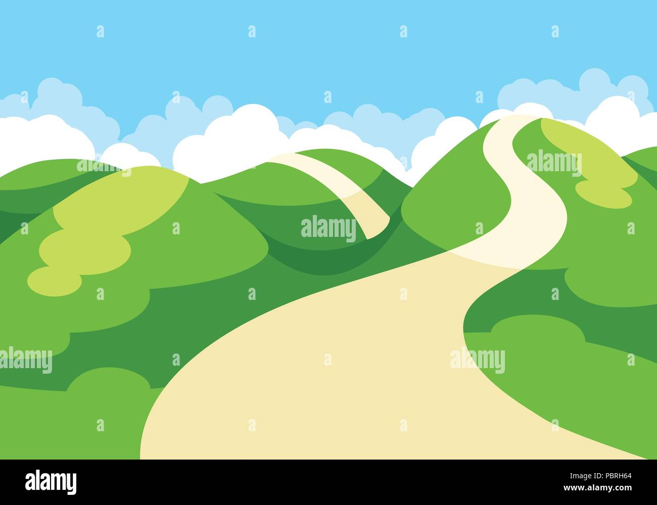 Cartoon Illustration Of Spring Landscape With Blue Sky And Green Hills Stock Vector Image Art Alamy