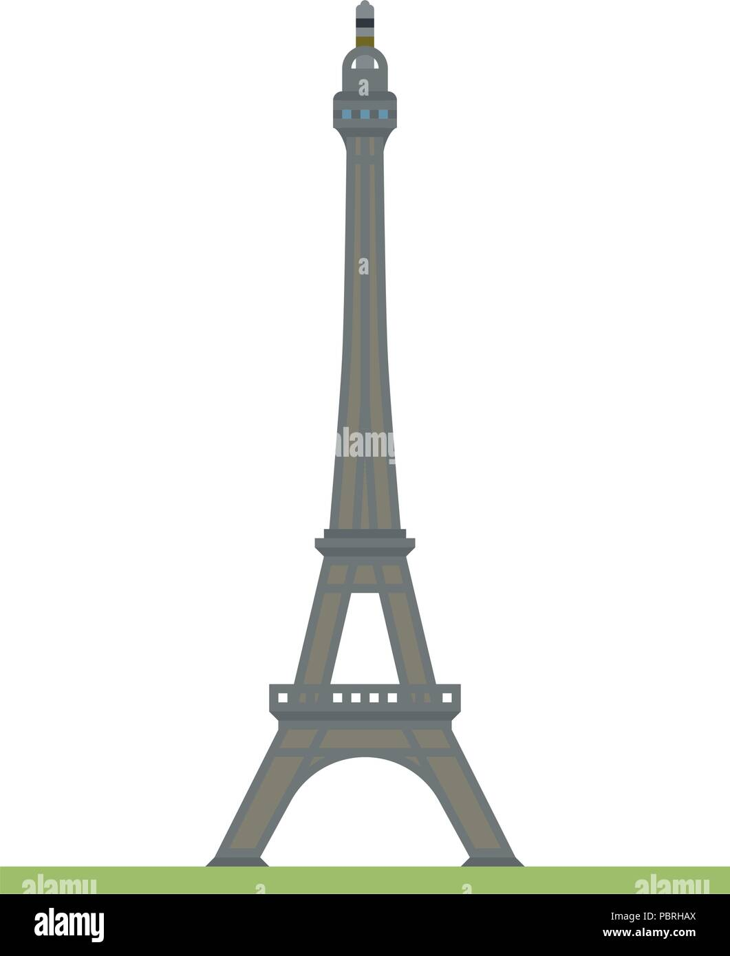 Flat design isolated vector icon of the Eiffel tower at Paris, France Stock Vector