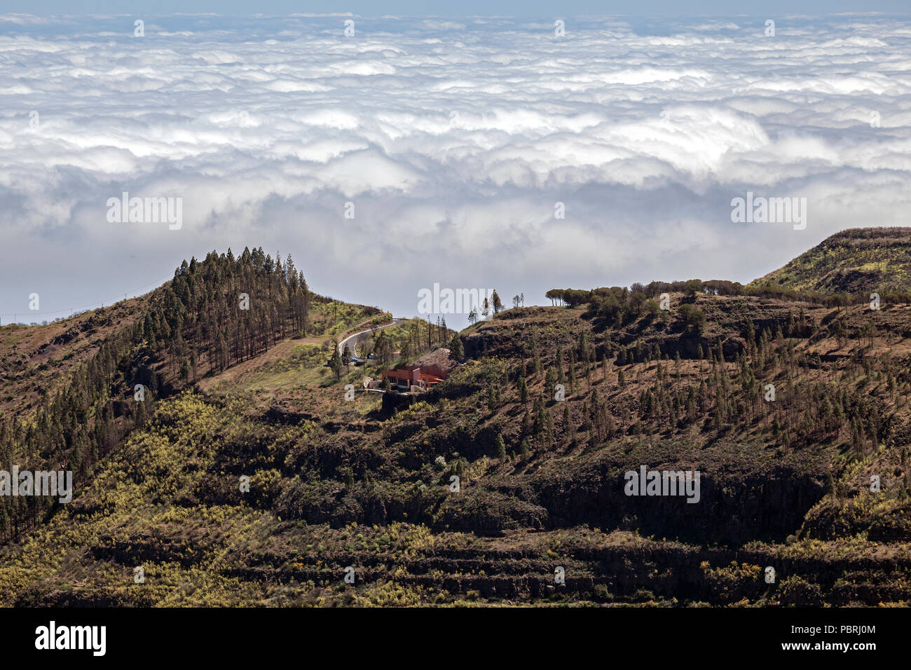 View from Roque Nublo on the Degollada de la Becerra and the sea of ​​clouds over the north of Gran Canaria, Gran Canaria Stock Photo