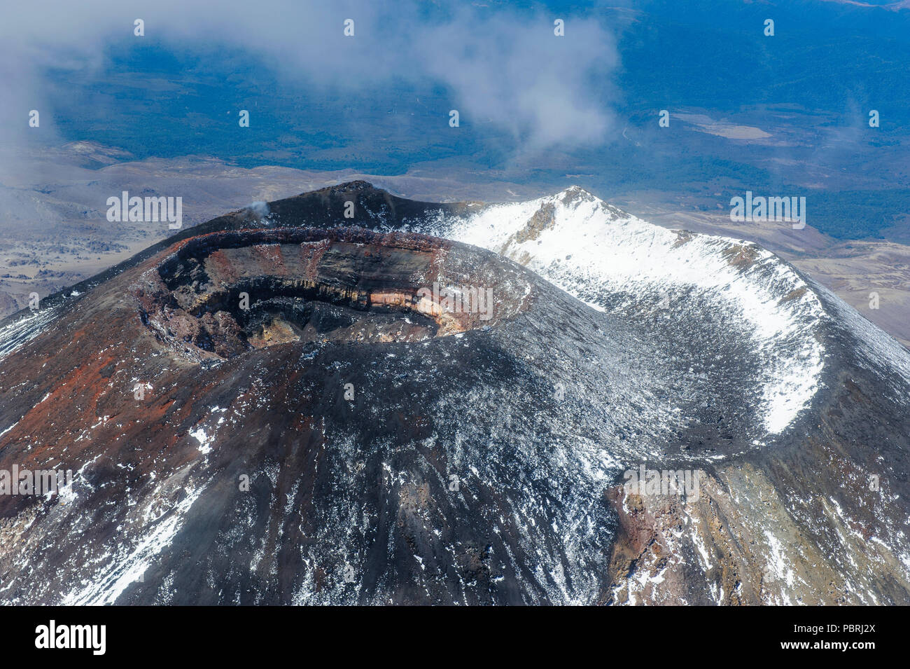 Aerial view of the crater of Mount Ngauruhoe, Tongariro National Park, North Island, New Zealand - Stock Image