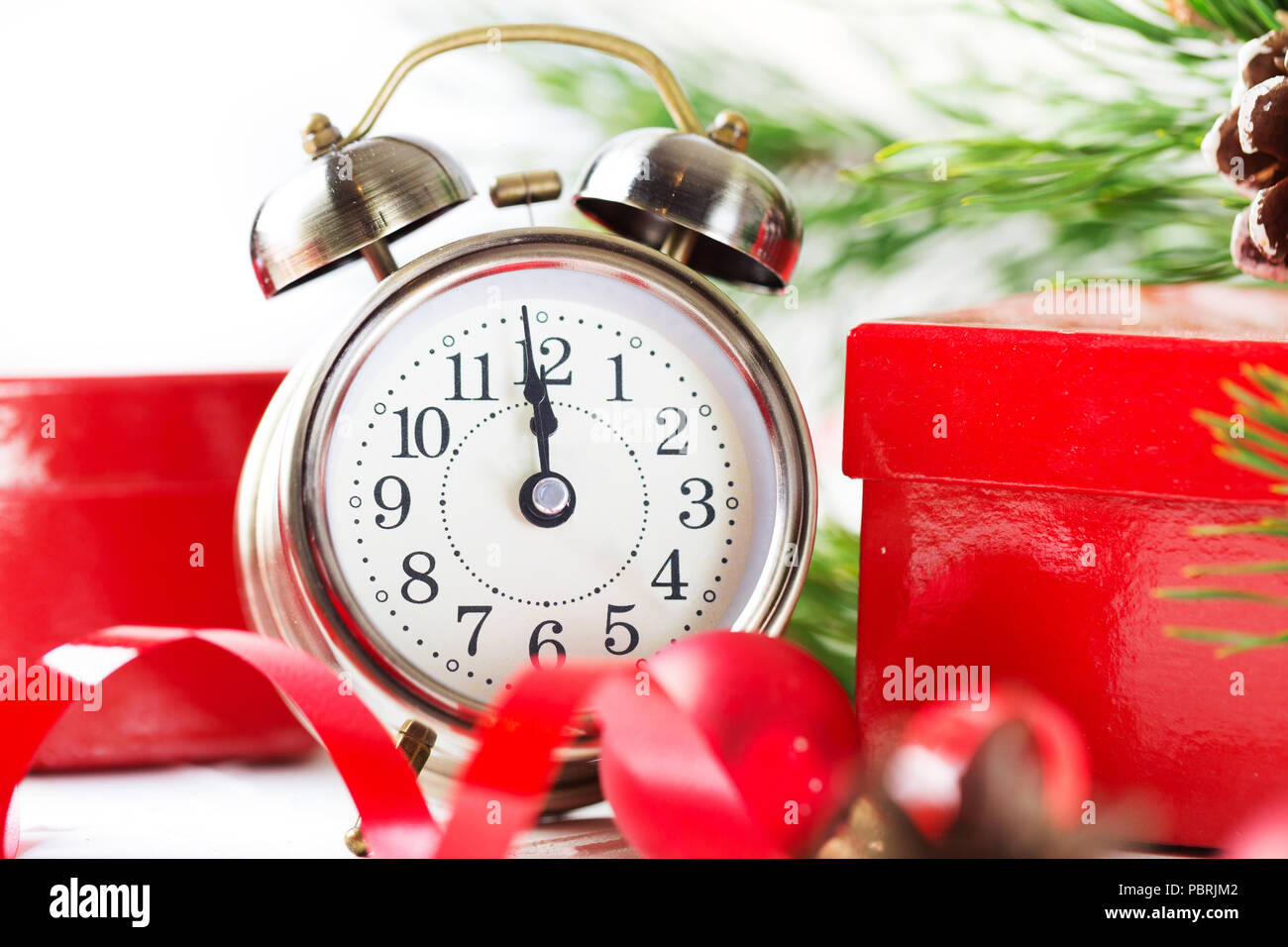 Countdown To Christmas Clock.Christmas Countdown To The New Year Clock And Red Balls And
