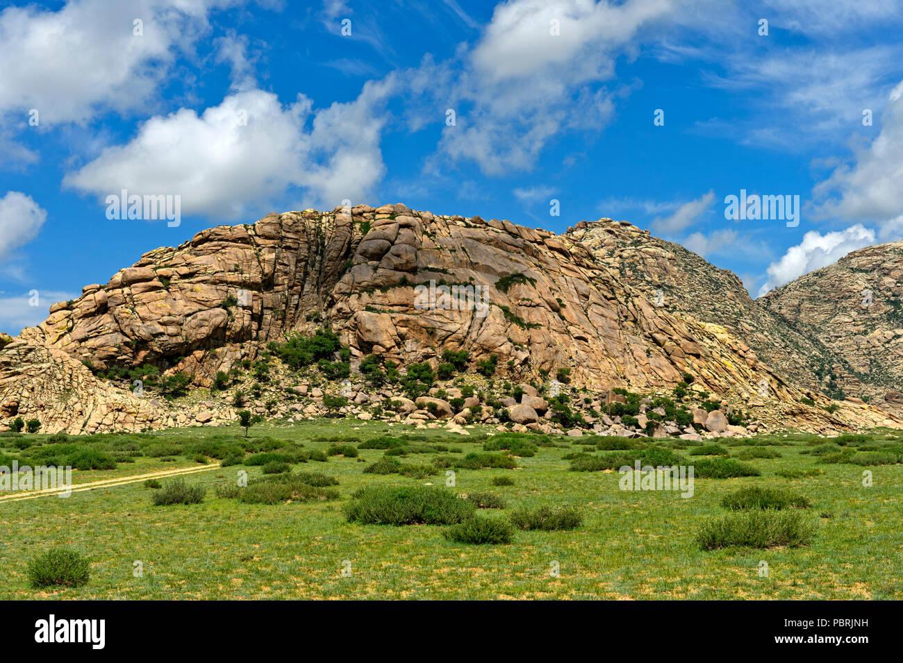 Khugnu Khan Mountains, Khögnö Khan Uul National Park, Bulgan Province, Mongolia - Stock Image
