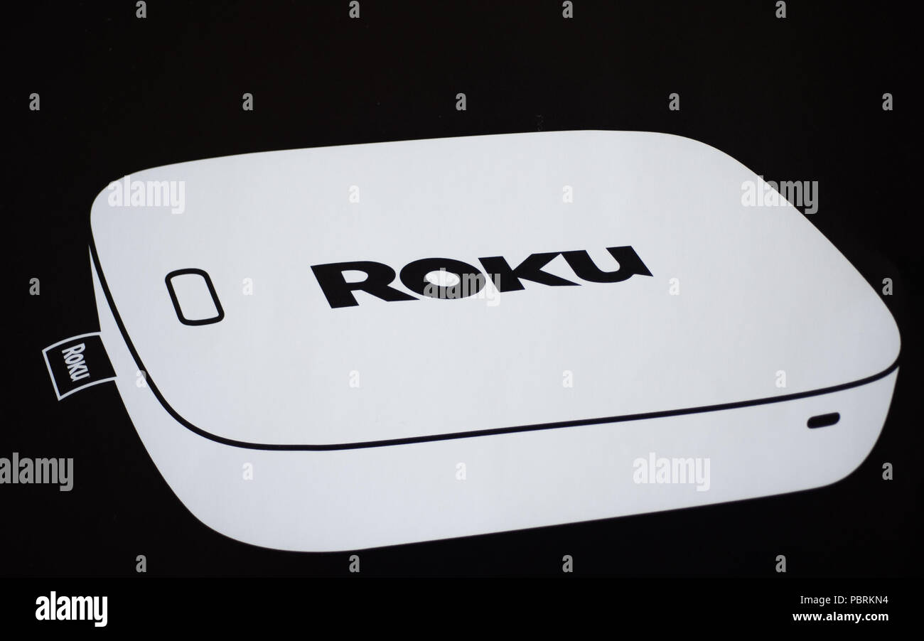 Los Gatos, CA/USA - Feb. 8, 2018: Roku Streaming TV & Media Player. - Stock Image