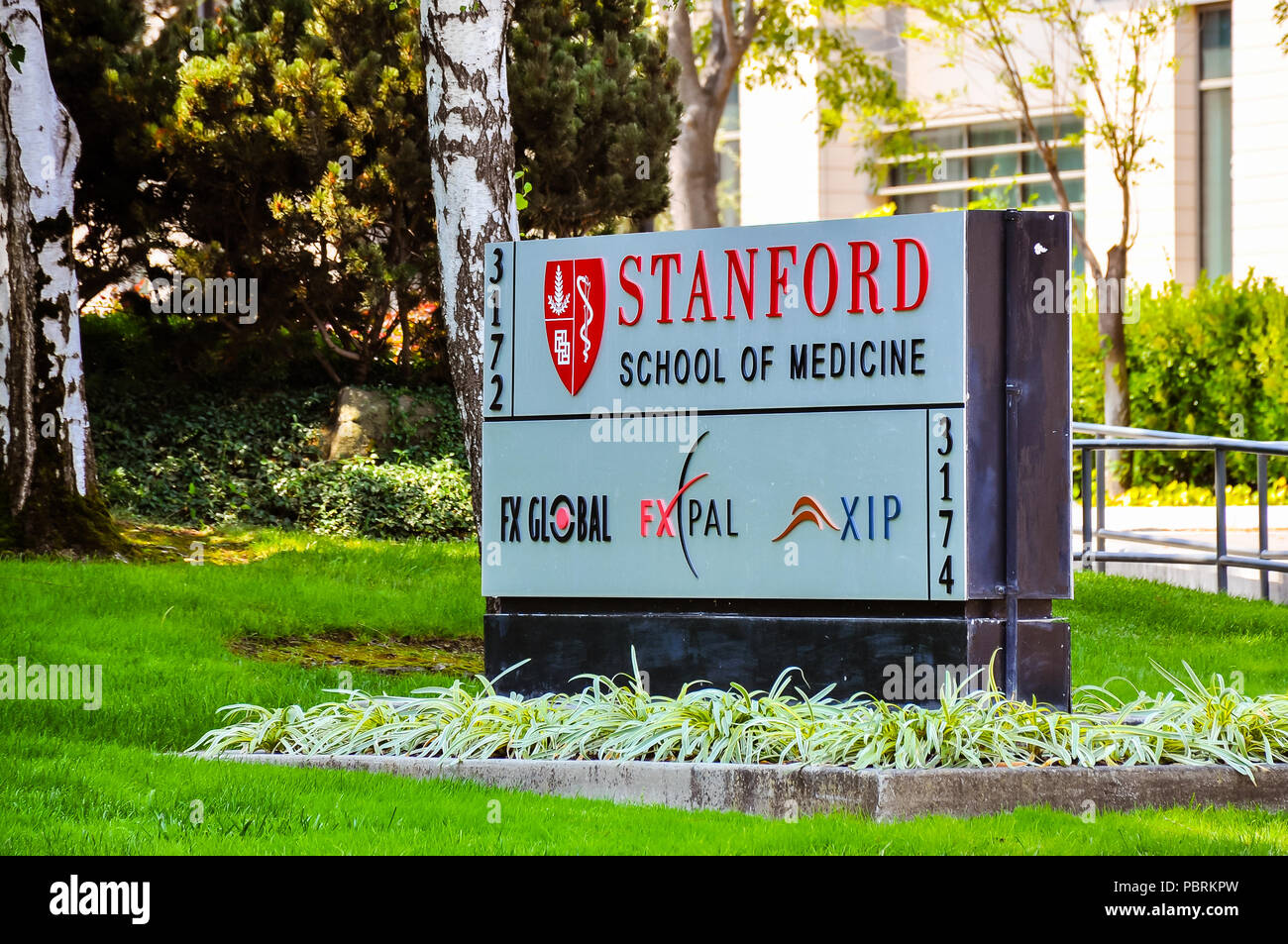Stanford, CA - Aug. 20, 2017: Stanford University School of Medicine - it is the medical school of Stanford University and is located in Stanford, CA. - Stock Image