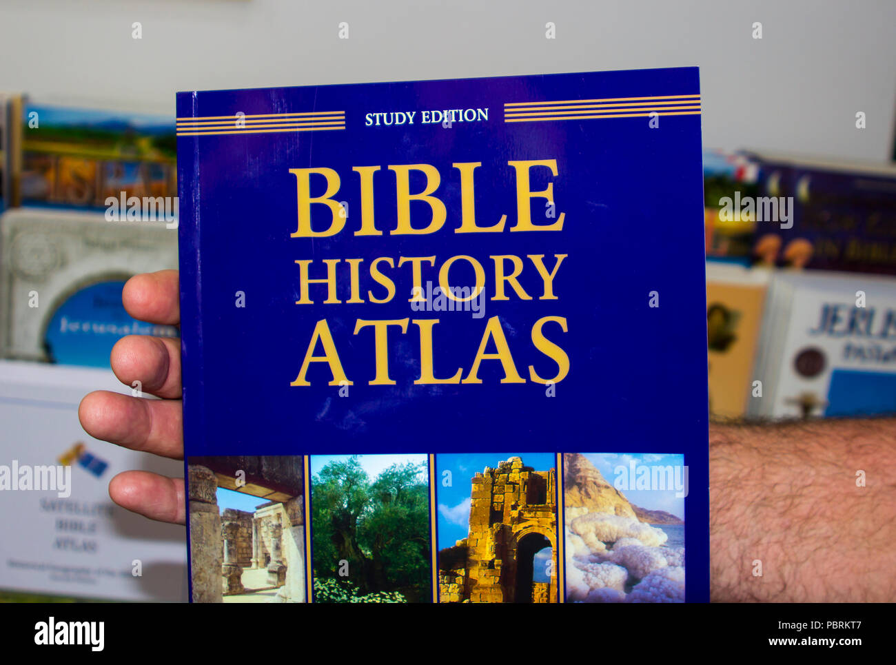 11 May 2018 A hard back Bible Atlas available for purchase at the souvenir shop at the Garden Tomb site in Jerusalem Israel - Stock Image