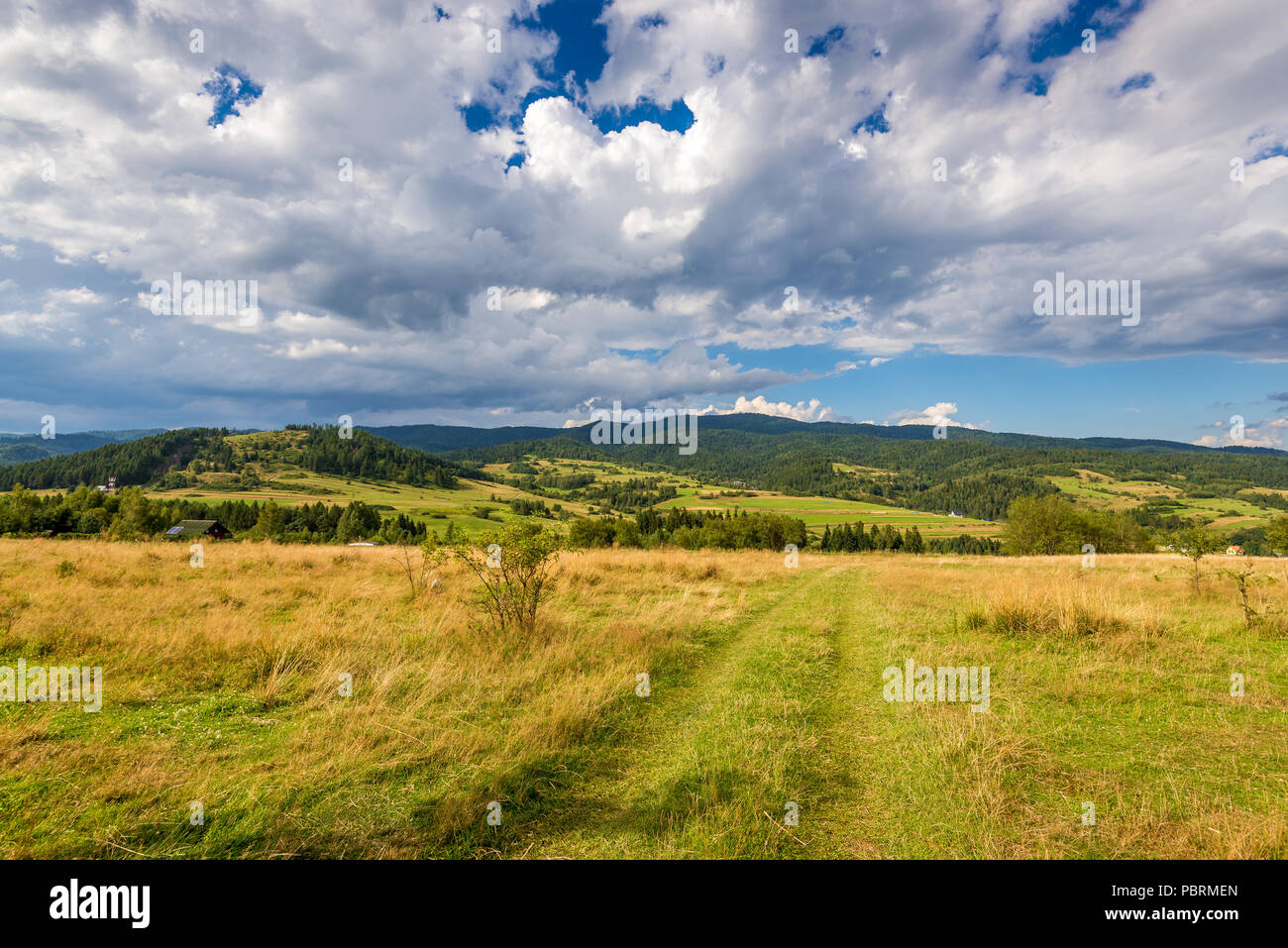 Rural scenery. Fields, mountains and clouds on the sky. Pieniny National Park. Malopolska, Poland.. - Stock Image