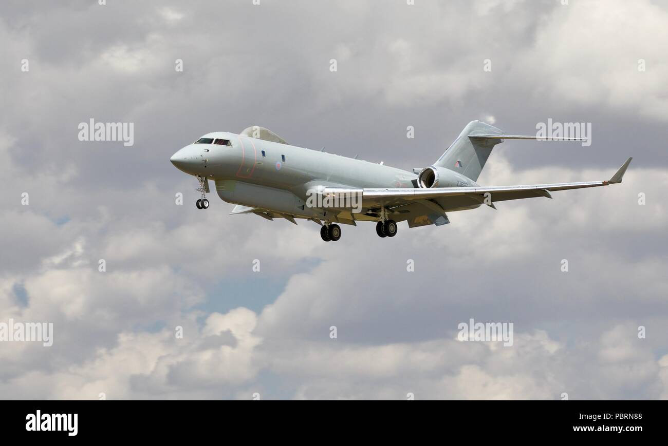 Royal Air Force Raytheon Sentinel R1 surveillance aircraft landing at RAF Fairford for the 2018 Royal International Air Tattoo - Stock Image