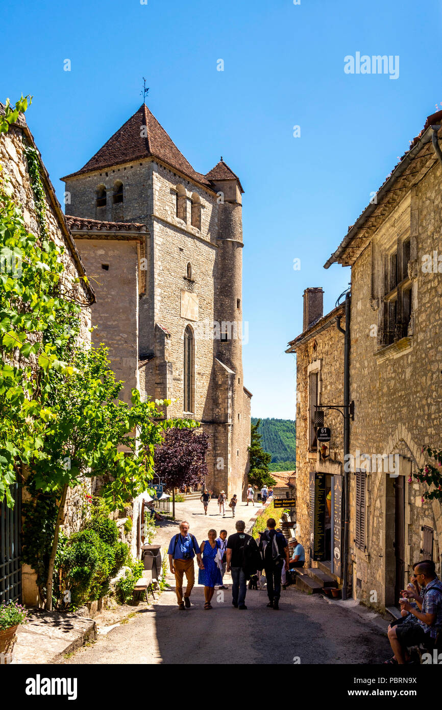 Church of Saint-Cirq-Lapopie on  Santiago de Compostela pilgrimage road, labelled as a Les Plus Beaux Villages de France - Stock Image