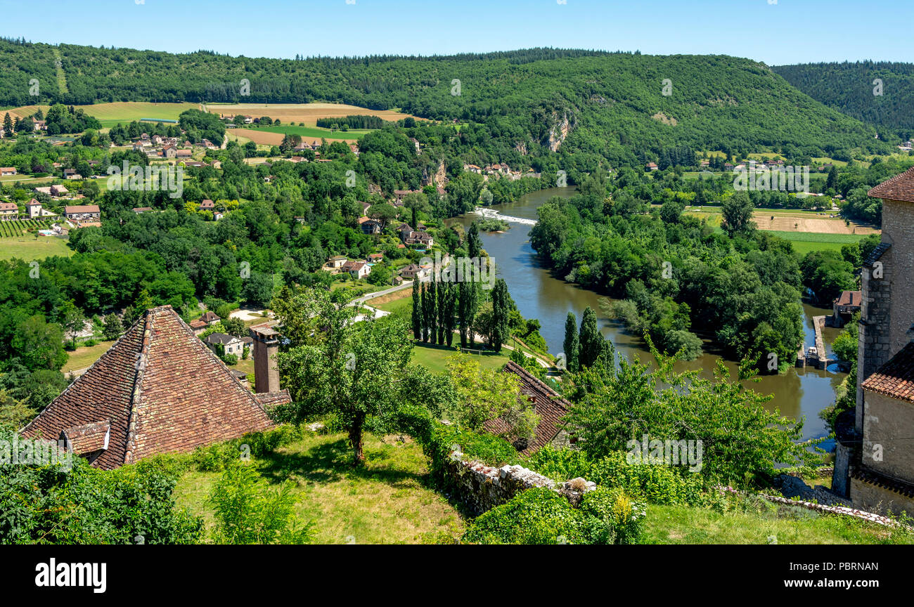 View of River Lot and Vallee du Lot from Saint-Cirq-Lapopie , labelled as a Les Plus Beaux Villages de France or The Most Beautiful Villages of France - Stock Image