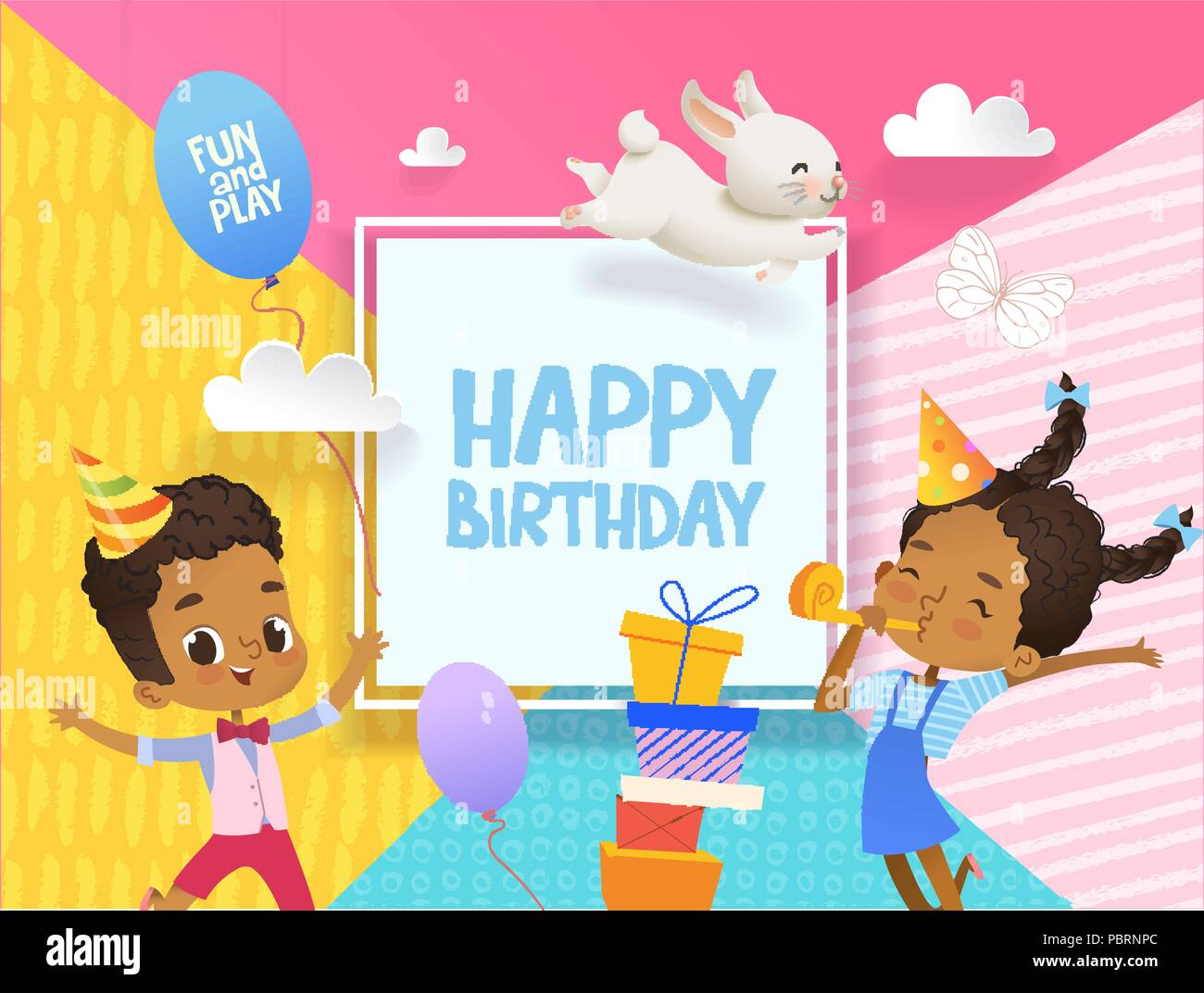 Joyous African American Boy And Girl In Birthday Hats Happily Jump