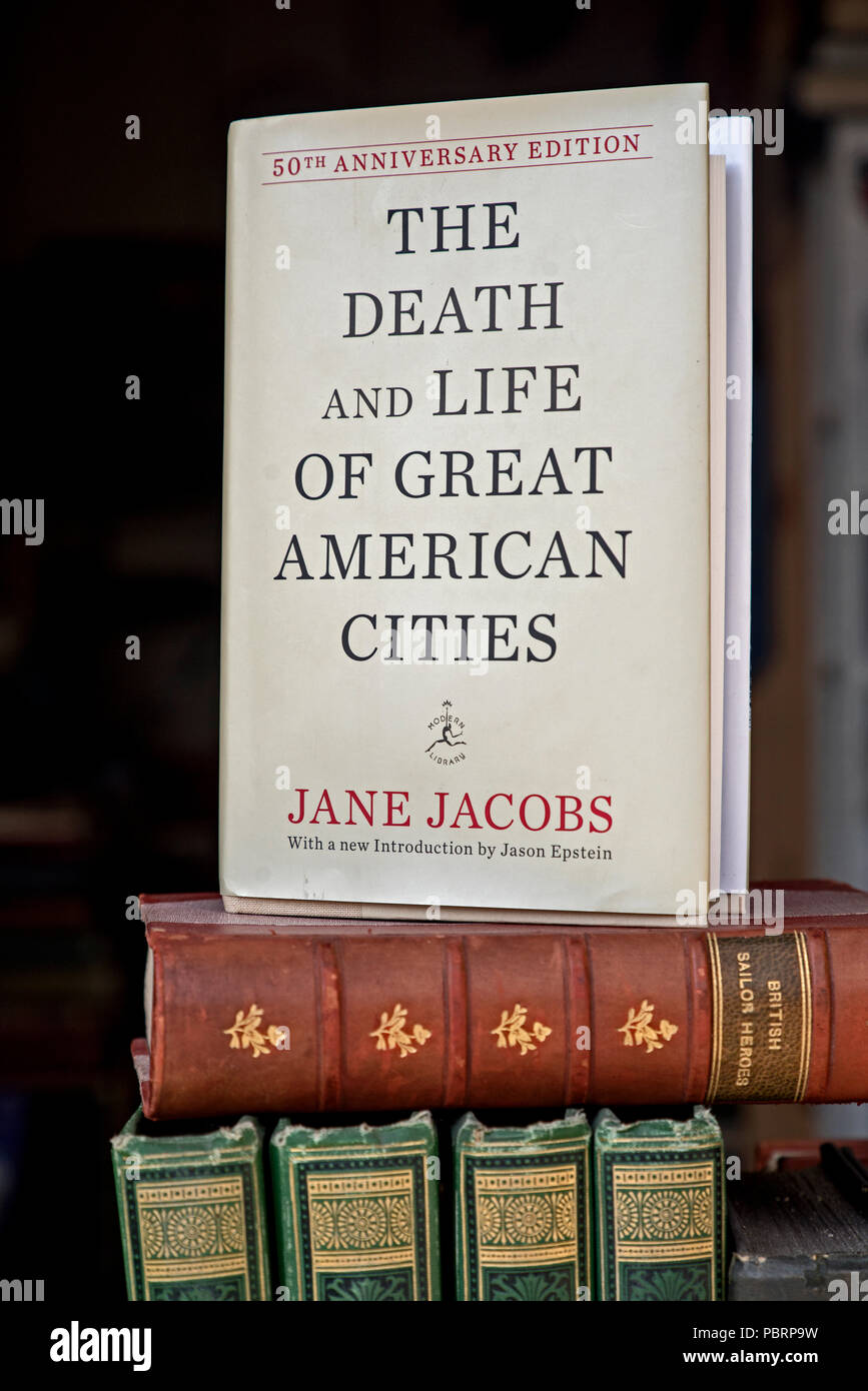 The Death and Life of Great American Cities -  by Jane Jacobs, originally published in 1961, in the window of a secondhand bookshop. - Stock Image