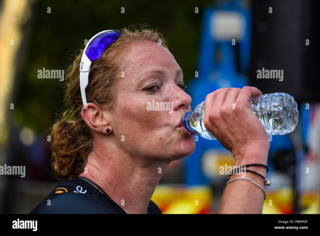 Kirsten Wild of team Wiggle High5 drinking water after winning the Prudential RideLondon Classique women's cycle race Stock Photo