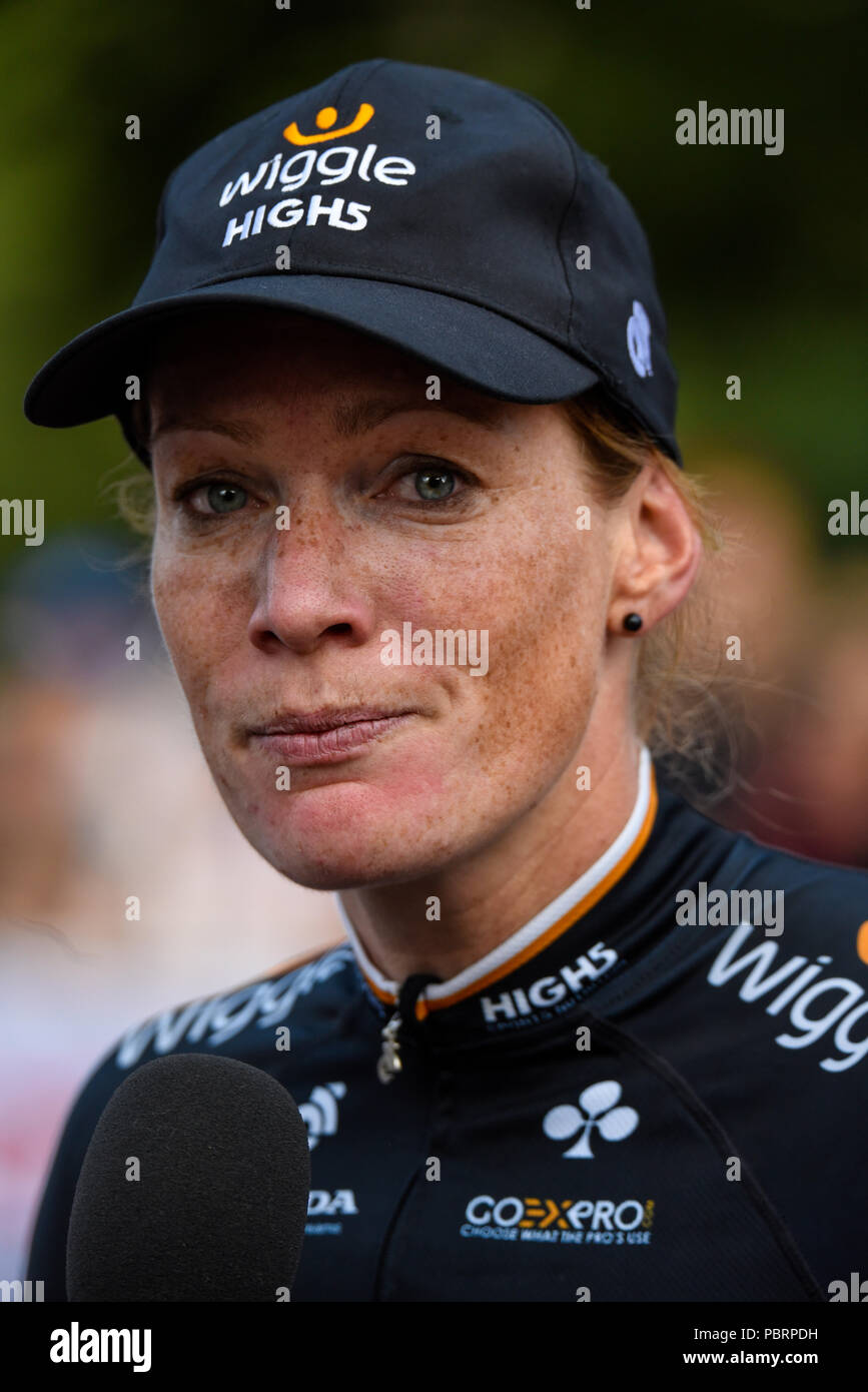 Kirsten Wild of team Wiggle High5 after winning the Prudential RideLondon Classique women's cycle race Stock Photo