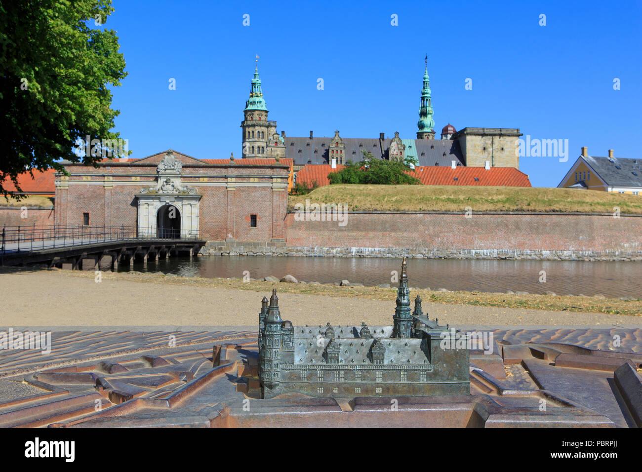 A scale model of Kronborg Castle (a UNESCO World Heritage Site since 2000) in Helsingor, Denmark - Stock Image