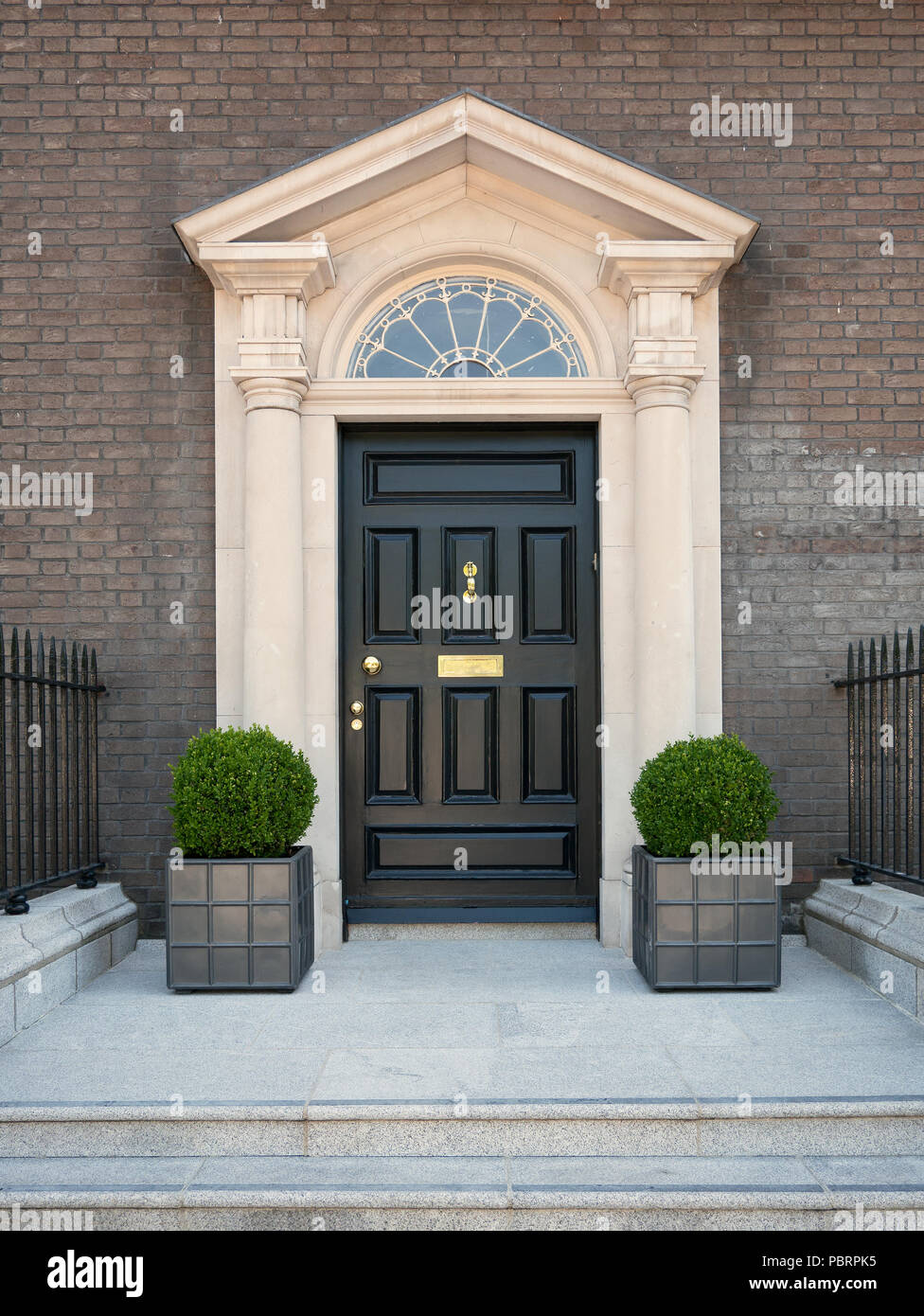 A typical entrance in Dublin with black door and golden handles, a staircase and two plants - Stock Image