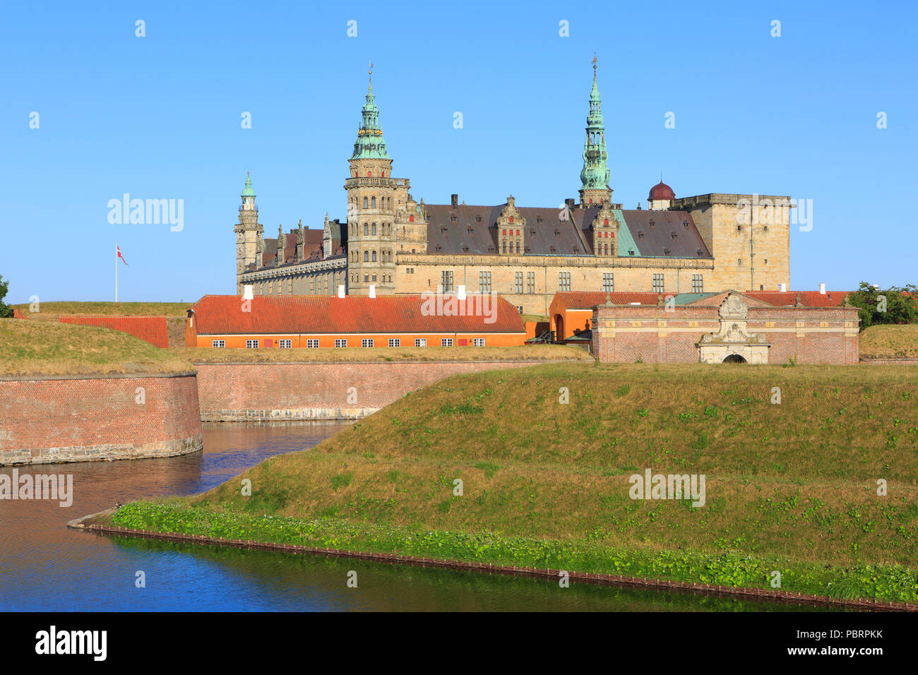The main entrance of Kronborg Castle (a UNESCO World Heritage Site since 2000) in Helsingor, Denmark - Stock Image