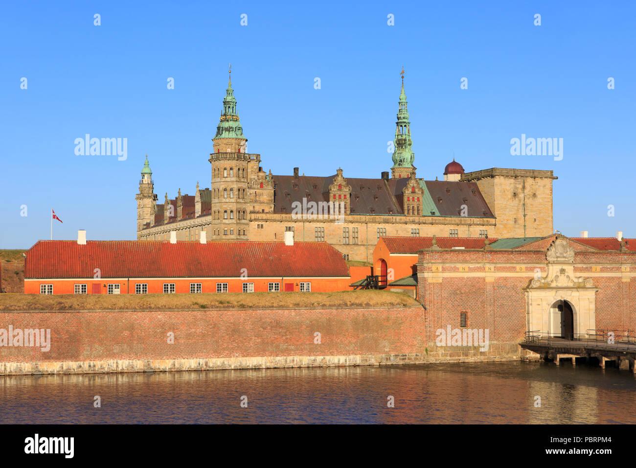 The main entrance of Kronborg Castle (a UNESCO World Heritage Site since 2000) in Helsingor, Denmark - Stock Image