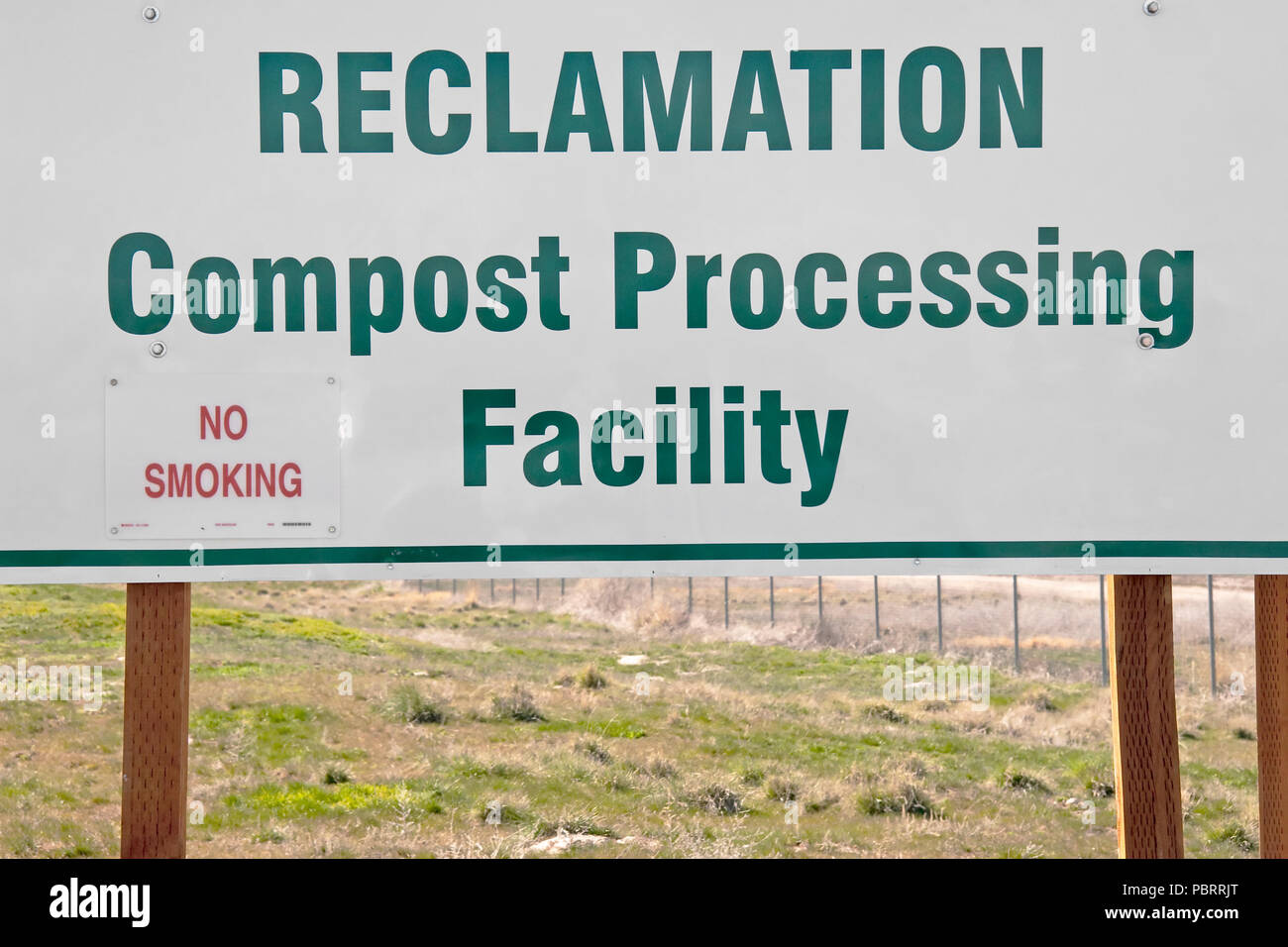 A sign indicating a Reclamation Compost Processing program at the Salt Lake City Landfill in Utah, USA. The landfill is doing its' part to help our en - Stock Image