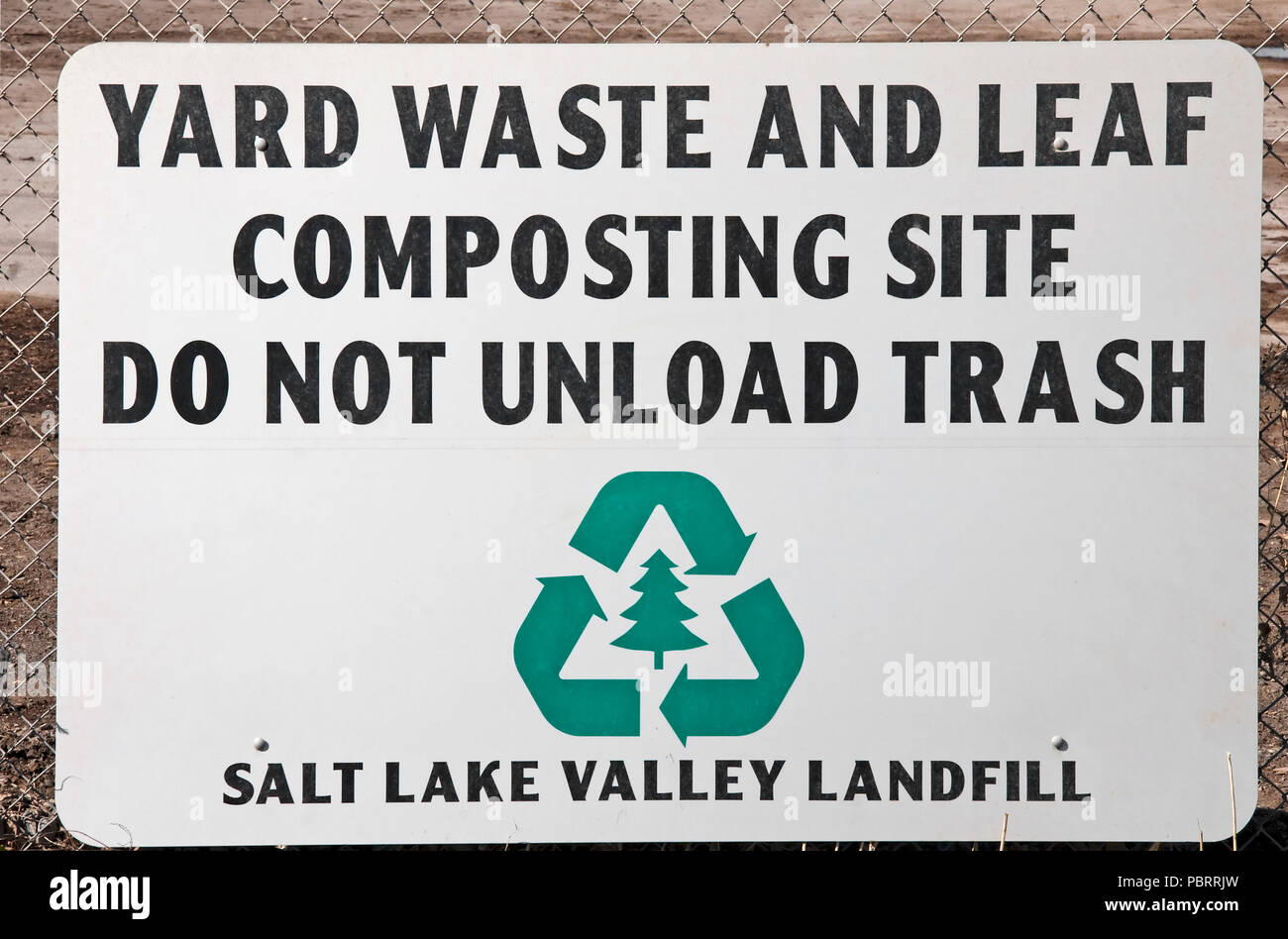 A sign indicating this is a Yard Waste and Leaf Composting Site at the Salt Lake City Landfill in Utah, USA. The landfill is doing its' part to help o - Stock Image