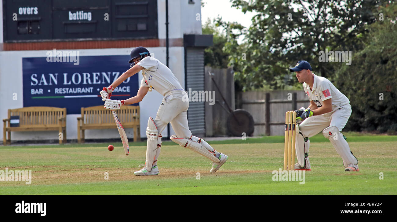 Grappenhall Cricket Club match vs Oulton batting, July 22nd 2018, Broad Lane, Warrington, Cheshire, North West England, UK - Stock Image