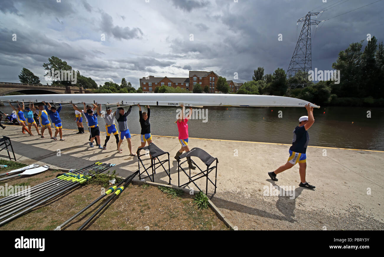 Warrington Rowing Club, preparing to launch a boat on the Mersey at Howley, Warrington, Cheshire, North West England, UK - Stock Image
