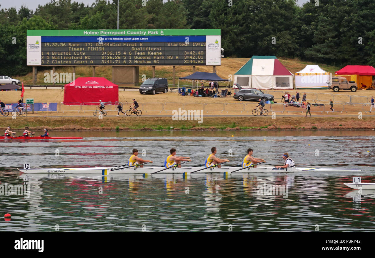 Warrington Rowing Club, racing at the BRJC British Rowing Junior Championships, Nottingham Watersports Centre, East Midlands, England, UK - Stock Image